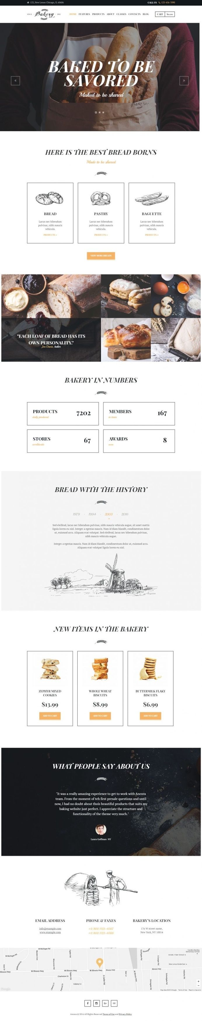 Bakery, Cafe & Bread Shop in Web design