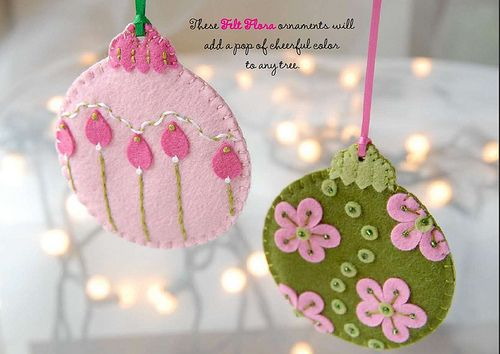 Felt Flora Ornaments with free PDF download diy felt crafts ornaments felt_flora