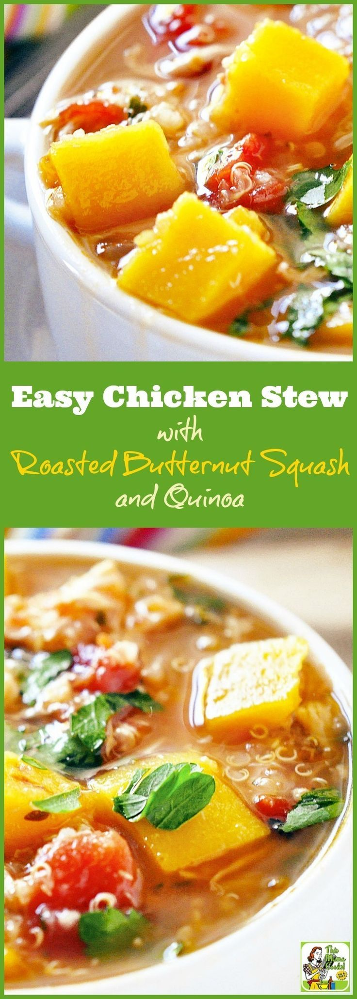 This healthy chicken stew recipe is ideal for dinner or a soup-er bowl party. Click to get the recipe for Easy Chicken Stew with Roasted Butternut Squash and Quinoa. This simple chicken stew recipe is naturally gluten free.