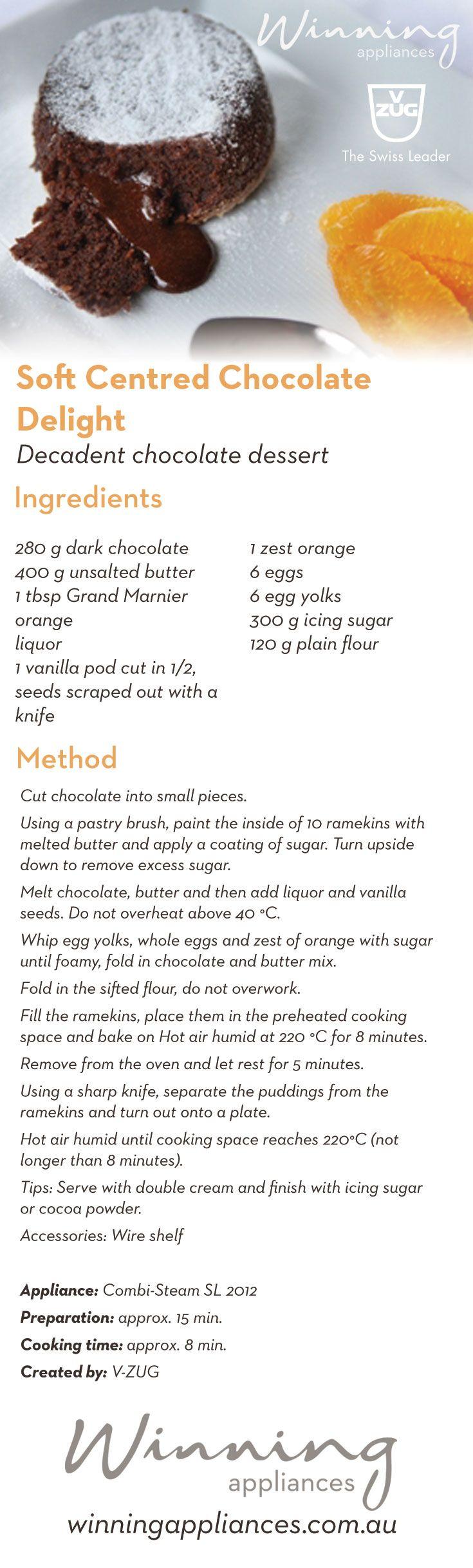 "Try V-Zug's latest recipe ""Soft Centred Chocolate Delight"" A decadent chocolate dessert with a molten centre. http://www.winningappliances.com.au/recipes/soft-centred-chocolate-delight/ #kitchenclub #winningappliances #winning #recipe #chocolate #choclatedessert #moltenchocolatecake"