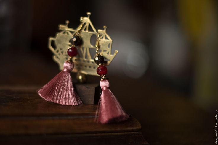 """Купить Серьги кисти с натуральными камнями """"Закат"""". Розовый, золотой. - серьги кисти, кисти"""