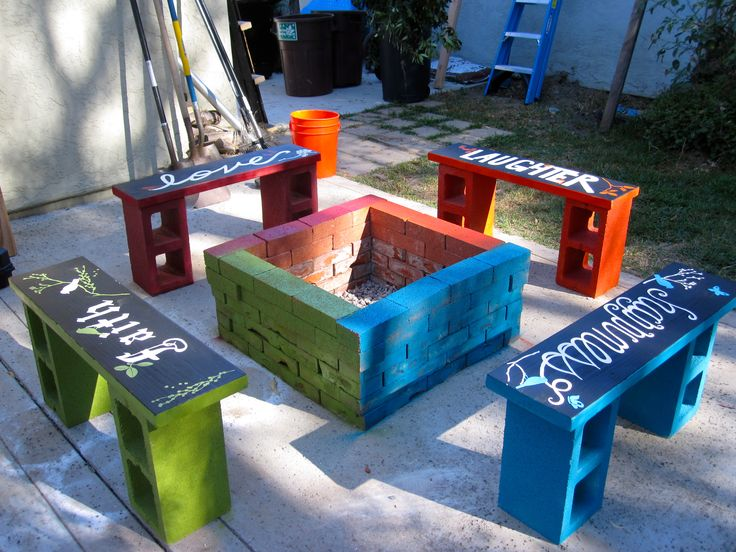 pics of cinderblock benches | My best friend wanted a fire pit to add to her new backyard addition ...