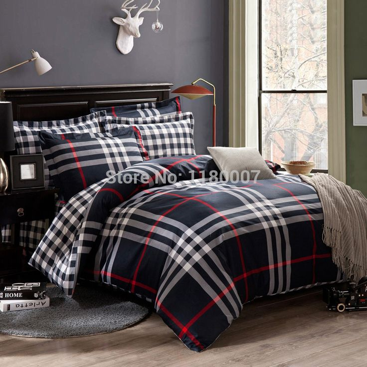 2015 New Black U0026 White Stripes And Check Plaids Plain Bedding Duvet Cover  Set Bedclothes Bedsheet With Overlock Edge King Sham