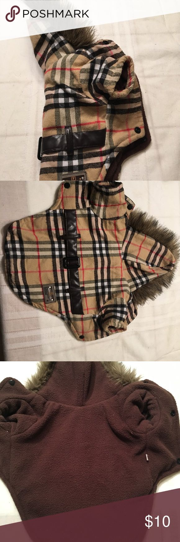 Dog faux Burberry print coat with fur collar Used super cute dog coat. It says it is a size medium but it fits like a small. I am sad to be getting rid of it but my dog has grown out of it. Other