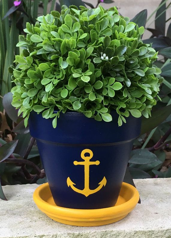 Anchor Hand Painted Flower Pot by FlourishAndPots on Etsy