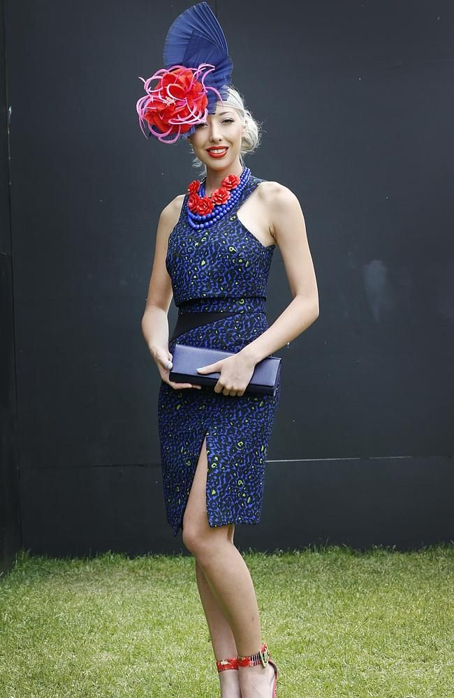 Milano Imai wears a Camilla & Marc dress at Myer Fashions on the Field for Crown Oaks Day at Flemington. Picture: David Cair