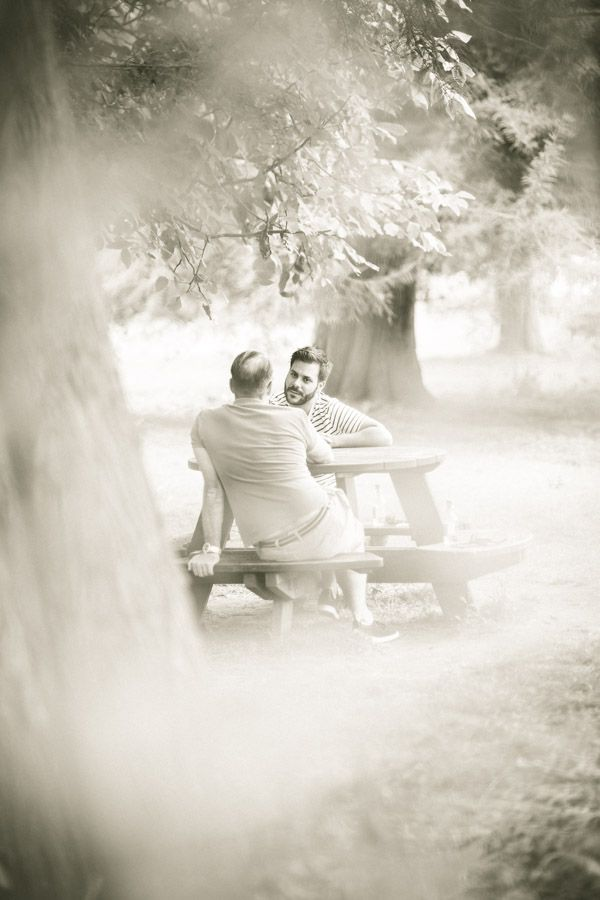 Chris and Robert on a pre wedding walk around the grounds at Cliveden