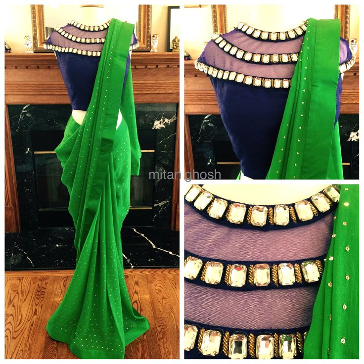 Sequins embroidered Saree with crystal and katdan blouse