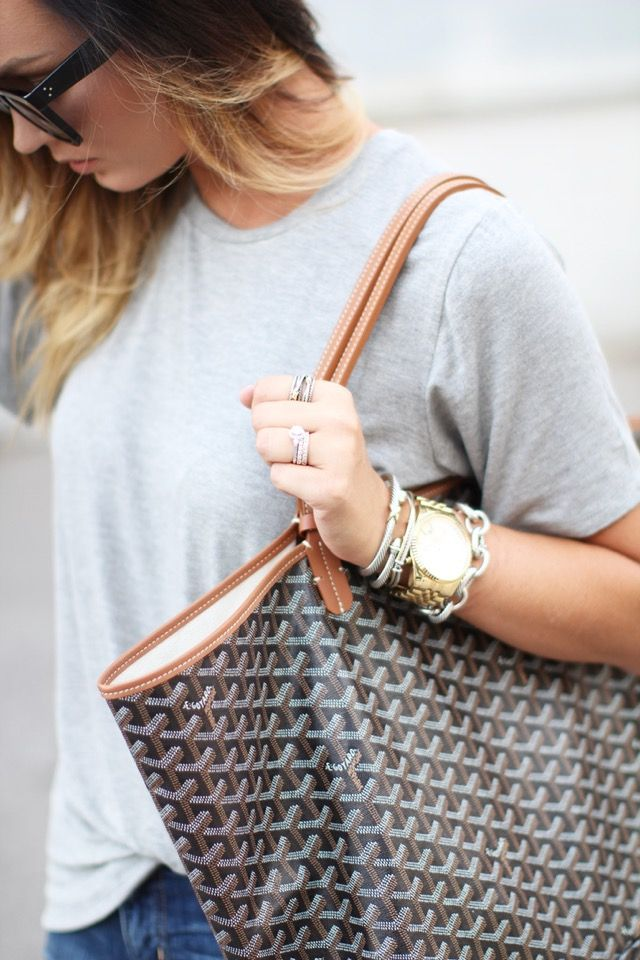 Today on For All Things Lovely: The Perfect Grey Tee for $38! -- Michael Kors watch, David Yurman bracelets, David Yurman ring, Goyard handbag, Celine sunglasses