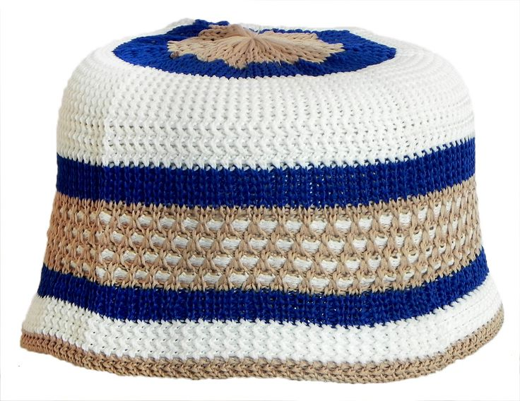 White, Blue, Biege Knitted Thread Muslim Prayer Cap (Cotton Thread)