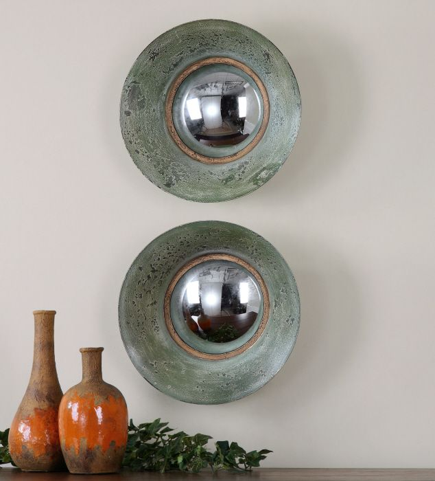 Shop for uttermost forbell aged round mirror and other accessories mirrors at mccreerys home furnishings in sacramento ca metal concave frame finished in