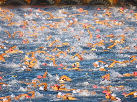 A Sea Full of Swimmers Competing in the Ironman Triathlon Photographic Print