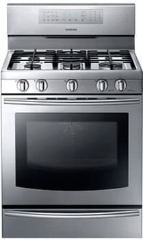Samsung NX58F5700WS 30 Inch Freestanding Gas Range with 5.8cu. ft. True Convection Oven, 5 Sealed Burners, Griddle, Wok Grate, Gliding Rack, Large Window Design, Warming Drawer, Self-Clean Mode and Energy Star Rated AJ Madison