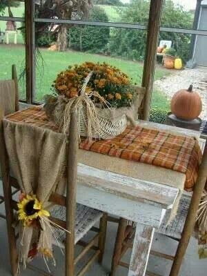 Cute fall table decorating. This looks just like my kitchen table!