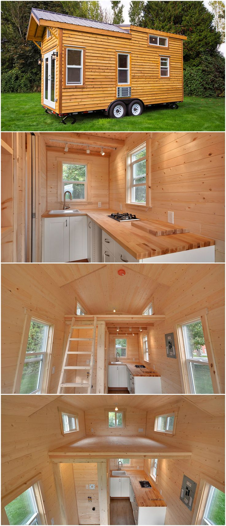 The Napa Edition is a gorgeous tiny house designed and built by Mint Tiny Homes. The tiny house is built on a 20′ trailer frame with wood or metal framing. A metal frame reduces the weight of the framing by 30%! Pine tongue and groove wall paneling, two burner cooktop, and a 30″x30″ shower are featured in this tiny house.