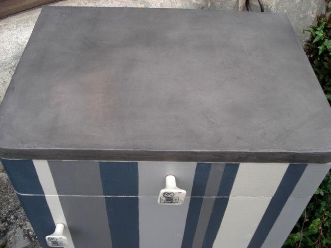 Meuble raye beton cire graphite eleonore deco pinterest for Meuble effet beton cire