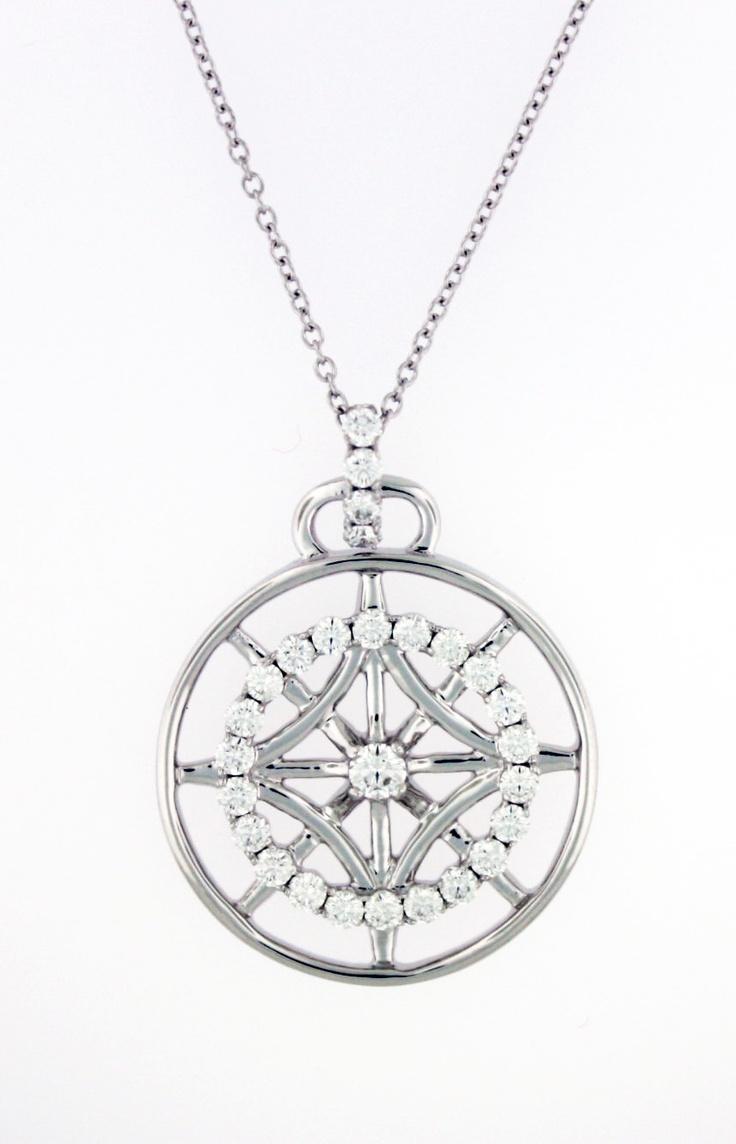 0.92ctw Hearts on Fire Diamond Copley 18K White Gold Medallion Pendant & Chain