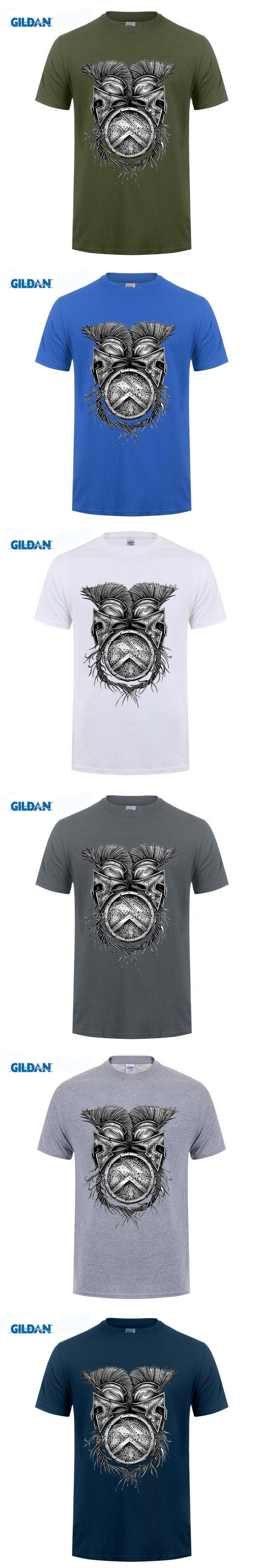 GILDAN customised T-shirt Spartan Helmets Shield Custom Designed Funny T Shirt Men 100% Short Sleeve Brand Clothing For Adult