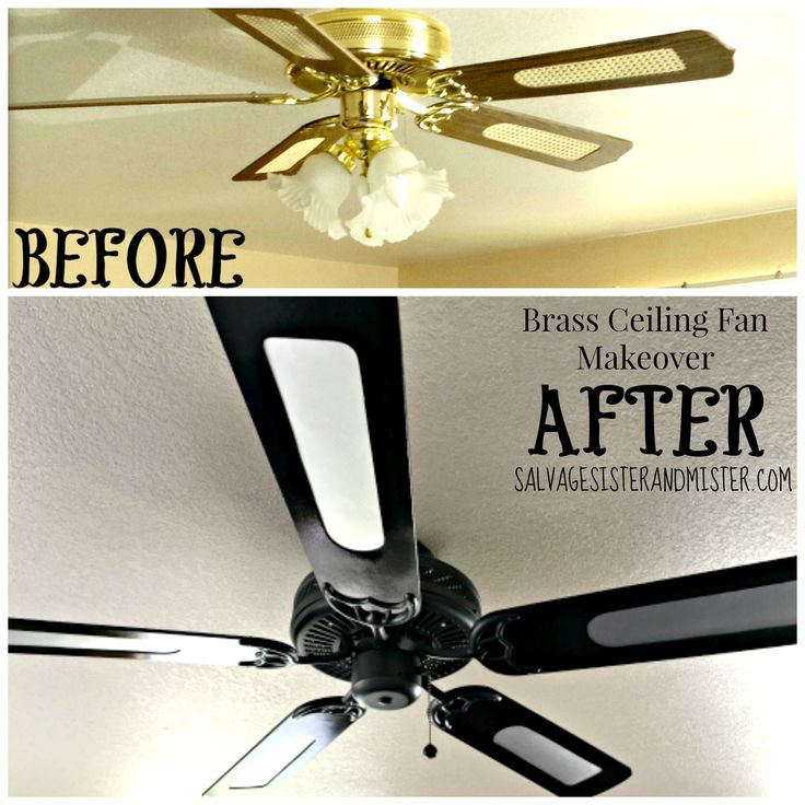 DIY Brass ceiling fan makeover. For just a tad over $10 we transformed/upcycled this dated ceiling fan into a more modern look. This DIY project took an afternon to do. The supplies needed and insstructions are on our site.