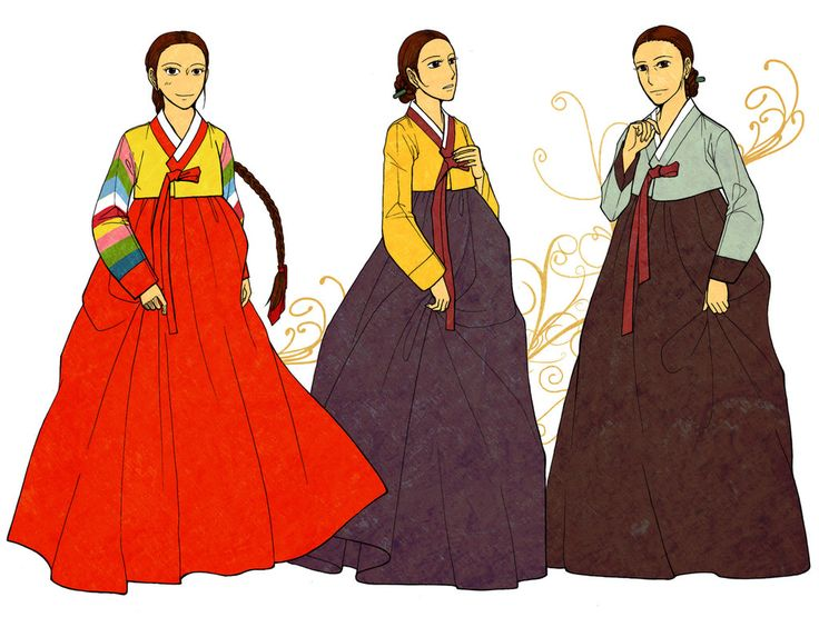 Women's Hanbok Color by Glimja on DeviantArt  In the old days, There were some rules about women's hanbok.  Unmarried ladies : yellow (or stripes of many colors) jeogori + crimson chima New brides : yellow-green + crimson After giving birth to the first babies : yellow + navy Middle-aged : jade green + navy.