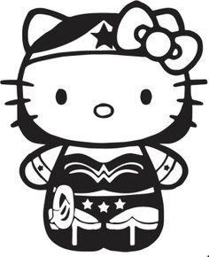 "Wonder Woman 4""x3"" Hello Kitty Inspired Vinyl Decal Great for Car Window Laptop Home or Office. **Free Shipping to US** on Etsy, $5.00"