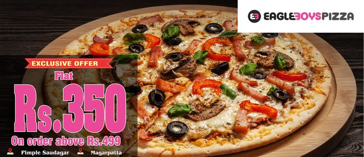 #PartytohBantiHai Flat Rs 350 Off on order above Rs 499 on Eagle Boys Pizza! Order online at http://Zaykedaar.com