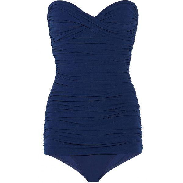 Norma Kamali Walter Mio ruched bandeau swimsuit ($195) ❤ liked on Polyvore featuring swimwear, one-piece swimsuits, swimsuits, beachwear, swim, bikinis, navy, swimming costume, navy blue one piece swimsuit and swim bathing suits