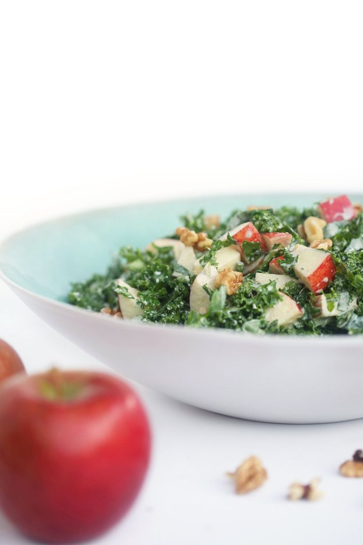 Waldorf Kale Salad - a fresh take on an 80's classic, with a delicious creamy tahini mayonnaise - vegan, dairy-free and gluten-free. With walnuts, apples, celery, olive oil and mustard.