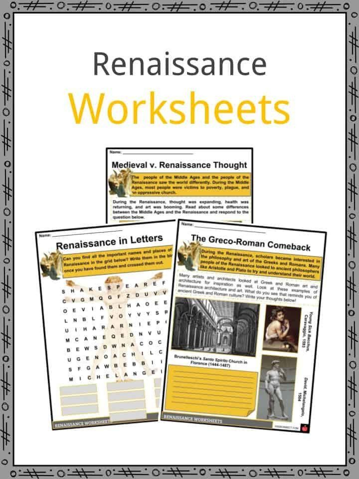 Renaissance Worksheets for Middle School the Renaissance 7th grade world history worksheets