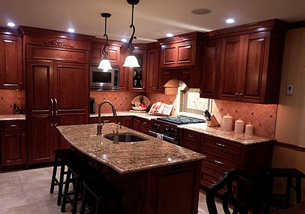 17 best images about granite on pinterest cherries for Cherry bordeaux kitchen cabinets
