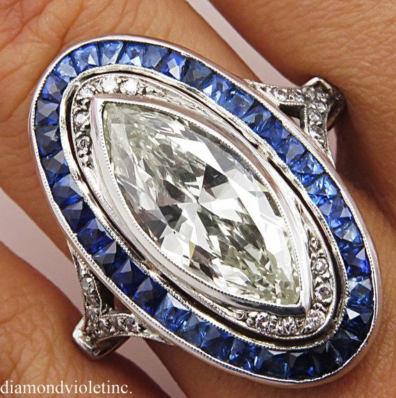 4.39ct Antique Vintage Art Deco Marquise Diamond por DiamondViolet