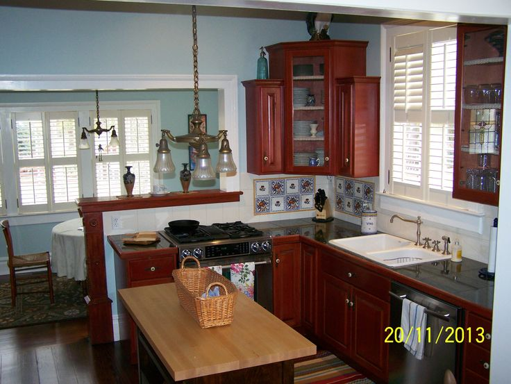 Second View Of My New Palladian Blue Kitchen I Have Red Stained Cabinets And Tons