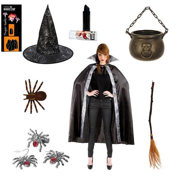 Costume de sorcière pas cher pour Halloween, cape et accessoires. halloween  cape