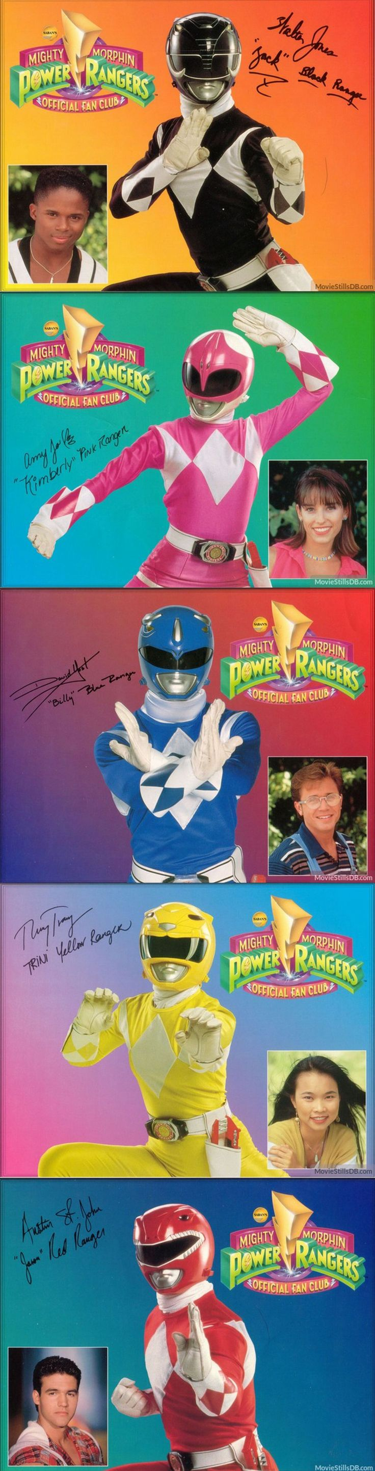 """Mighty Morphin Power Rangers"" ~ Black Ranger -- Zack Taylor (Walter Emanuel Jones), Pink Ranger -- Kimberly Hart (Amy Jo Johnson), Blue Ranger -- Billy Cranston (David Yost), Yellow Ranger -- Trini Kwan (Thuy Trang), and Red Ranger -- Jason Lee Scott (Austin St. John)"