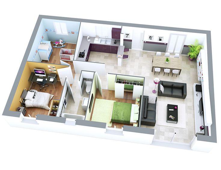 165 best maison de plain pied images on pinterest blueprints for homes house design and house. Black Bedroom Furniture Sets. Home Design Ideas