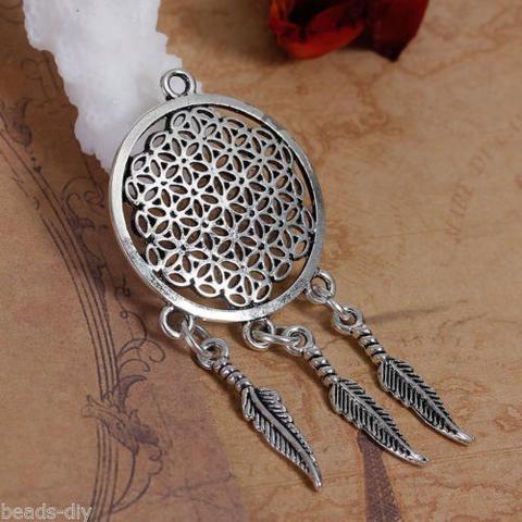 5PCs BD Fashion Silver Tone Dream Catcher Pendant Necklace Jewelry 6.4x2.9cm
