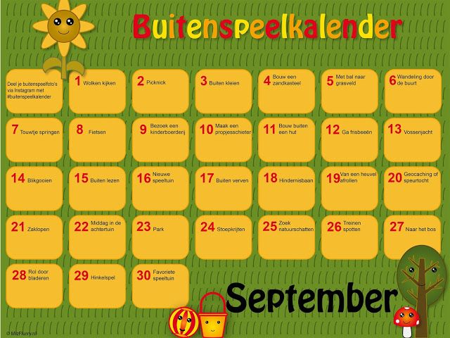 Gratis download PDF buitenspeelkalender. Inspiratie voor buitenspelen in september.