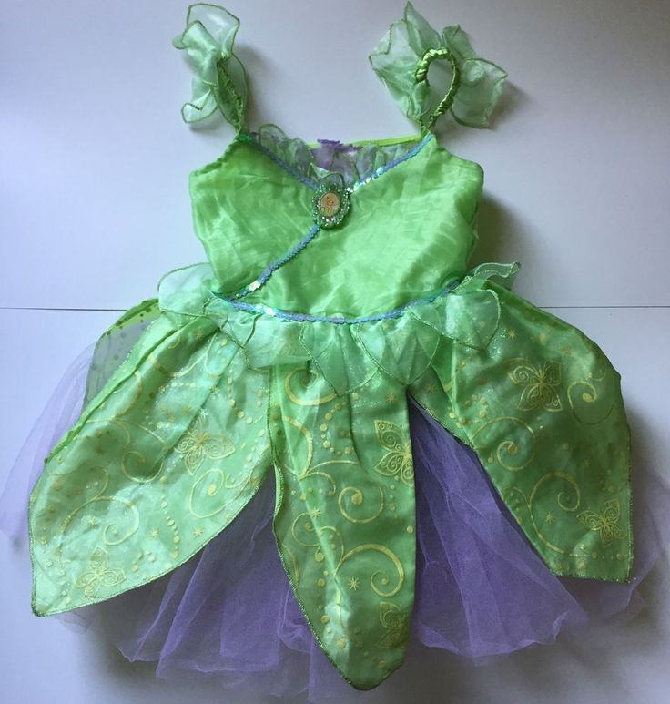 Disney Store Tinkerbell Fairy Princess Costume Dress Small 5/6 Green Purple #Disney #Dress #Tinkerbell #Princess #Costume #HalloweenCostume #DisneyStore #PrincessDress #PeterPan #Fairy