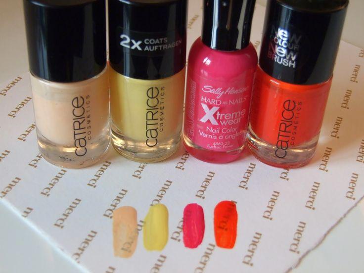 Two brights and two pastels - nailpolishes - Dva výrazné a dva pastelové laky na nechty na leto #Catrice #SallyHansen #nails