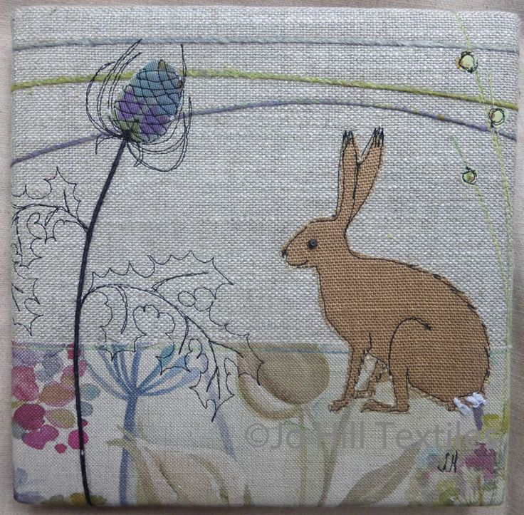 Hare sitting amongst thistle by Jo Hill textiles