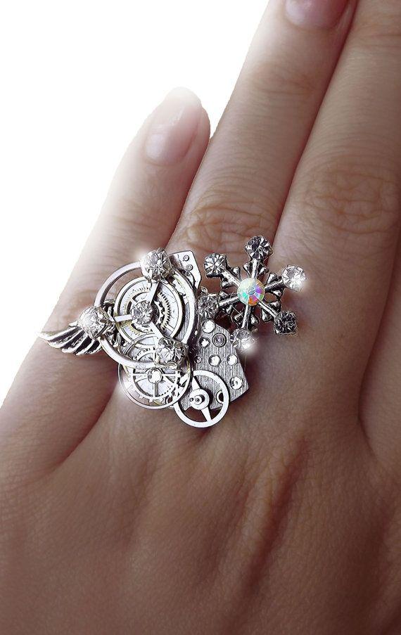 'Snowflake dreams' Silver snowflake angel crystal Steampunk ring