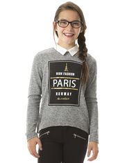 Offset Long Sleeve Sweater with Sheer Collar for Girls
