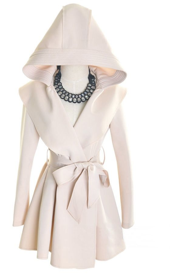 Graceful Long Sleeves Solid Color Hooded Women's Coat With Belt, BLACK, ONE SIZE in Jackets & Coats   DressLily.com