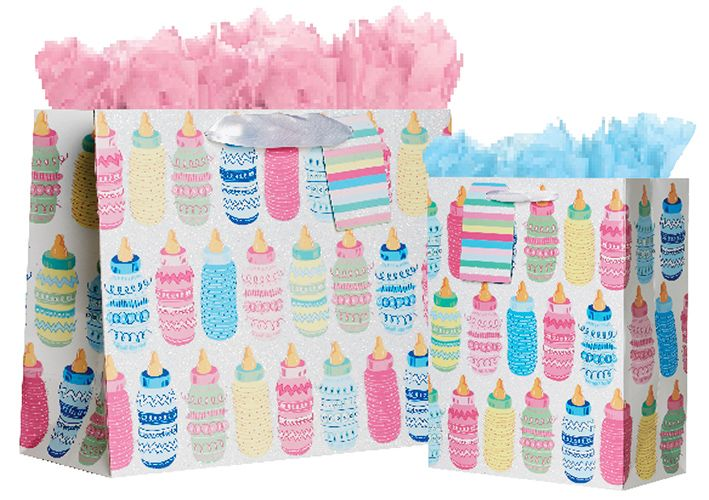 NEW Baby Bottle Tote Bags! Available in 2 sizes and sets of 6 for resale!  #Baby #Babyshower #GiftWrap