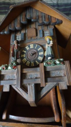 OLD-Rare-GERMAN-BLACK-FOREST-UNUSUAL-HAND-CARVED-RUSTIC-CUCKOO-CLOCK-parts-only