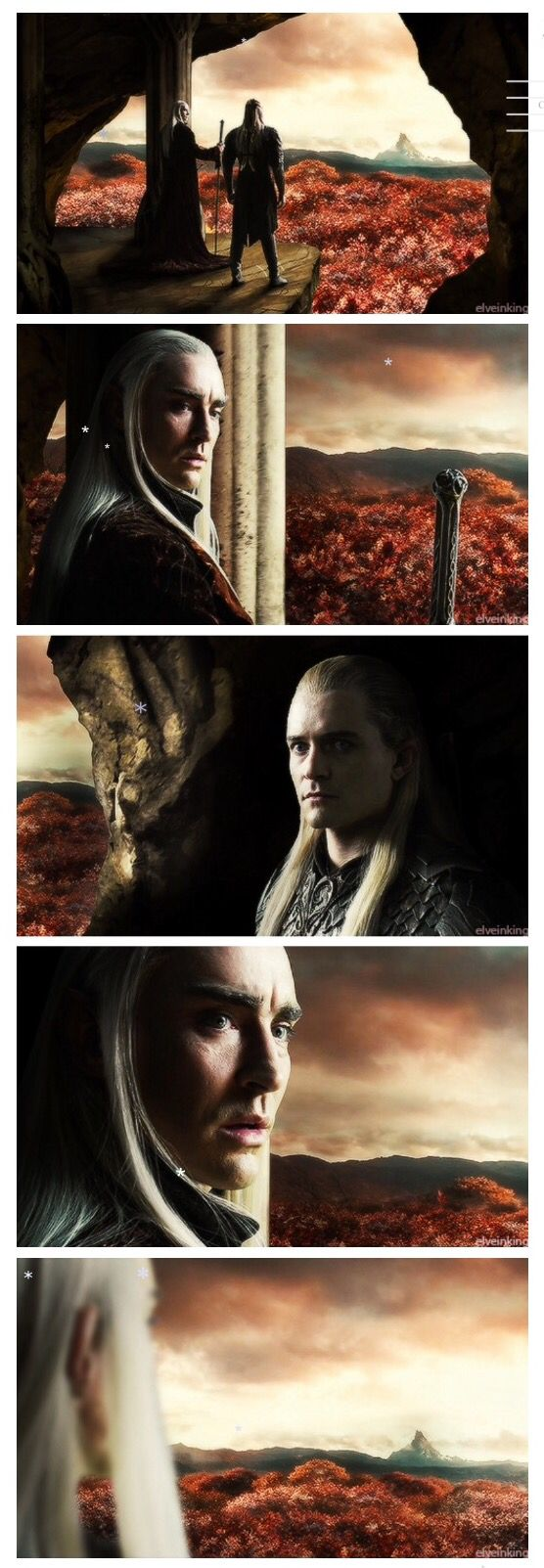 """""""Look around you Legolas, all that the light touches is our kingdom"""" """"Everything the light touches... But what about that shadowy Mountain place?"""" """"That's Erebor. You must never go there, Legolas."""""""