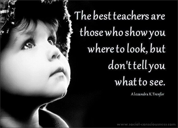 The best teachers are those who show you where to look, but don't tell you what to see. -Alexandra K. Trenfor