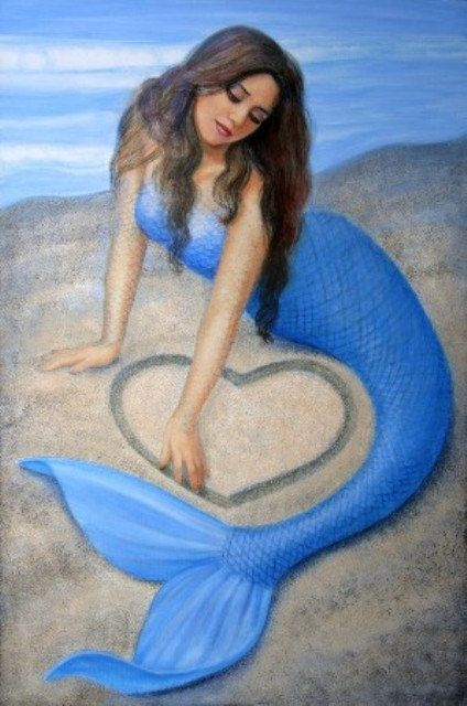 Blue Mermaid art heart fantasy beach poster PRINT of mermaids painting by Sue Halstenberg