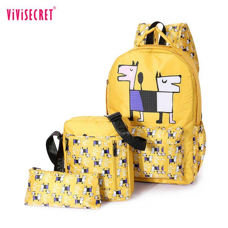 4 Colors Backpacks Brand 3 pieces Sets Women Backpack Dog Printing Polyester School Bags for Teenager Girls Shoulder Bag