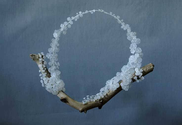 necklace from the Genus Tropaeolum series, 2015, recycled plastic bags and wood / jewelry art by wiebke pandikow